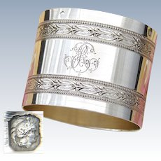 "Antique French Sterling Silver 2"" Napkin Ring, Classical Empire Laurel Bands, ER or RE Monogram"