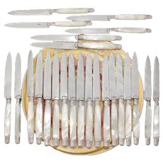 "Elegant Antique French Sterling Silver & Pearl Handle 24pc 7 7/8"" Entremet or Luncheon Sized Table Knife Set"