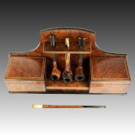 Antique Napoleon III Era French Pipe Smoker's Chest, Stand, Holder & Humidor, 4 Pipes