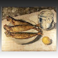 Antique French Oil Painting on Stretched Canvas, Still Life, Fish and Lemon, Water Jar, Table & Plate