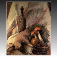 Antique French Oil Painting, Nature Morte, Still Life with Hare, Mushrooms,