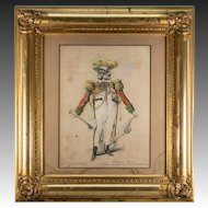 Antique Hand Painted Watercolor on Print, Jules Renard (1833-1926), in Fabulous French Frame