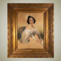Antique French c. 1834 Portrait in Pastel, Fine Frame, Artist: Pierre François Eugène GIRAUD (Paris, 1806 – Paris, 1881)