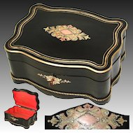 "Antique Napoleon III Era 11.25"" Jewelry, Sewing or Work Box, Serpentine Casket with Boulle Style Inlay"