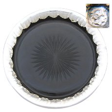 """Lovely Antique French Rococo Sterling Silver Framed Cut Glass 8 3/4"""" Pie Plate or Platter, Champagne Coaster?"""
