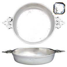 "Charming Antique French Sterling Silver 6.5"" Wide 'Ecuelle', Single Serving Dish, Bowl or Legumier"