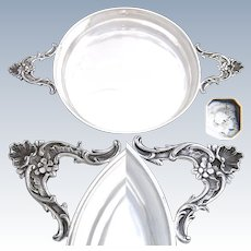 "Elegant Antique French Sterling Silver 7"" Wide 'Ecuelle', Single Serving Dish, Bowl or Legumier"