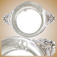 "Antique French Sterling Silver 6.5"" Wide 'Ecuelle', Single Serving Dish, Bowl or Legumier"