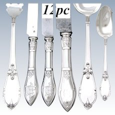 Antique French Sterling Silver 12pc Dinner Sized Flatware Set, a 6pc Setting for Two, Gothic Pattern