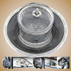"Antique French Sterling Silver, Intaglio Etched Glass 3pc Condiment Dish, Bowl, 5.5"" Under Plate"