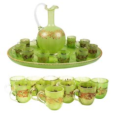 Antique French Napoleon III Cabaret, Green Opaline Glass & Raised Gold Enamel, Carafe, 11 Cups, Tray