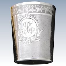 "Antique French Sterling Silver Wine or Mint Julep Cup, Tumbler or Timbale, Guilloche Style, ""RT"" Monogram"