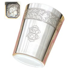 Antique French Sterling Silver Wine or Mint Julep Cup, Tumbler or Timbale, Acorns & Oak Leaves, Ornate Monogram