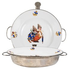 WMF c.1930-60 Vintage French Child's Hot Meal Dish, Warmer, Porcelain Plate with Clown, Dog