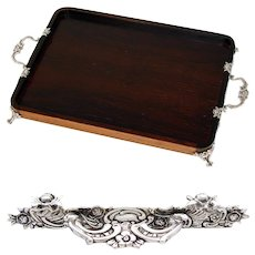 "Elegant Antique to Vintage German .800 (nearly sterling) Silver & Rosewood 13.25"" Desk or Vanity Tray"