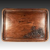 "Splendid 19th C. Antique Asian Teak Bar or Serving Tray, 18.75"" x 10.5"", Hand Carved"