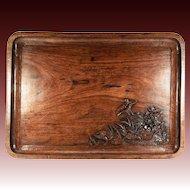 "Splendid 19th C. Antique Asian Teak Bar or Serving Tray, 18.75"" x 10.5"", Hand Carved"