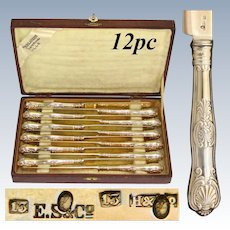 Antique French Hallmarked German Vermeil on .800 (nearly sterling) Silver 12pc Fruit or Dessert Knife Set