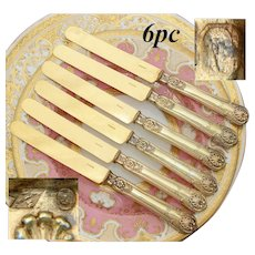 "Antique French Sterling Silver 18K Vermeil 6pc Fruit or Dessert Knife Set - 1819 Michel Ange Hallmark, ""AB"" Monogram"