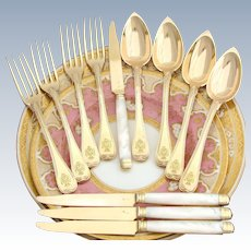 Antique French 18k Gold Vermeil on Sterling Silver 12pc Flatware Set, 3pc Setting for FOUR, Crown Top Heraldry
