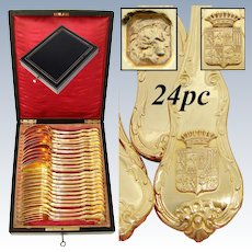 Exquisite Antique French 18k Gold Vermeil on Sterling Silver 24pc Dessert Flatware Set, Crown Top Armorial Heraldry, Rosewood Box