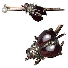 RARE! Antique Victorian Bee, Bly, Bug Brooch, 16k Gold, Diamonds, Ruby and Pearl