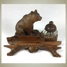 Charming Antique HC Black Forest Bear Desk Stand, Inkwell, Ink Well, Genéva, Switzerland Grand Tour Souvenir