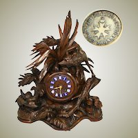 "Museum Antique HC Black Forest Mantel Clock, 18.75"" Tall, Japy Freres, Fox and Hens"