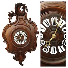 "Antique French Black Forest or Country French Carved 24.25"" Parlor Clock, Louis XV Style, Enamel Numerals"