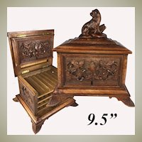 RARE Antique HC Black Forest Cigar Chest, Box,  with Hound, Dog, 4 Server Trays, 32 Cigars