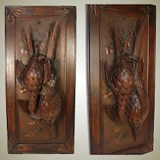 "Antique Black Forest Carved Fruits of the Hunt 30.5"" Plaque, Door Panel, Nature Morte c.1880s"