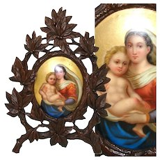 "Antique Victorian Black Forest Carved 7.5"" Foliate Frame, Miniature Painting: Madonna & Christ Child"