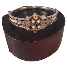Fine Antique Victorian Bracelet in Box, Seed Pearls, Ruby, 12k Gold, Hinged 3-way