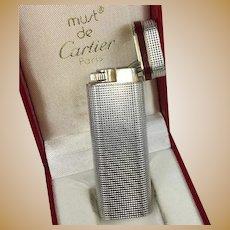 Vintage Must de CARTIER Cigarette Lighter in Box,14k Gold, Kiln-fired Enamel and Silver, Cigar