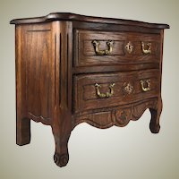 "Antique Country French 10.5"" Miniature Commode, Chest of Drawers, Ebeniste Apprentice"