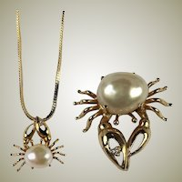 Vintage 14k Gold, Diamond and Oblong 10 x 8mm Pearl Land Crab, Pendant or Charm