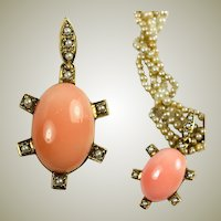 "Fine Vintage 10k Gold Pendant, Pink Coral and Seed Pearls, 2"" Long Turtle?"