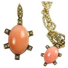 """Fine Vintage 10k Gold Pendant, Pink Coral and Seed Pearls, 2"""" Long Turtle?"""
