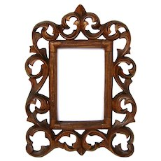 "Antique Edwardian Era Carved Wood Carte d'Visite Sized 7.75"" Picture Frame"
