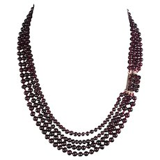 "Opulent Antique Victorian 4-Strand Garnet Bead Necklace, 9k Gold Clasp 16"" - 18.5"" Strands"
