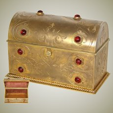 "Antique Victorian Era Gilt Bronze 7"" Stationery Casket, Ornate Box w/ Ruby Glass ""Jewels"""
