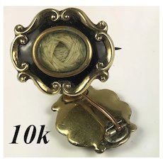Antique Victorian Mourning Brooch, Hair Locket, 10k Gold and Kiln-fired Enamel
