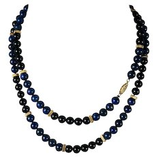 "Vintage Hand Carved Lapis Lazuli and Jet Bead Necklace 32"" Long, 14k Gold, Too"