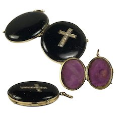 Antique Victorian 14k Mourning Locket, Seed Pearl Cross and Black Enamel, Pendant