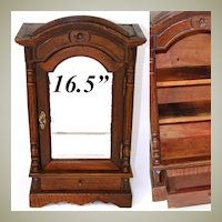 "Wonderful Antique French 16.5"" Miniature or Bru Doll Sized Armoire, Table Cabinet"