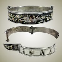 Antique Rome Micro Mosaic Bracelet, Doves and Flowers in Silver Hinged Bangle