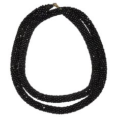 "Antique Edwardian Jet Bead - Braided Black Facet-cut Bead Necklace, 22.25"" Long, Mourning"