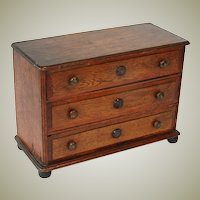 "Antique Victorian to Edwardian Era Oak 15"" Miniature Bru Doll Sized Chest of Drawers"