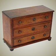 "Antique Victorian to Edwardian Era Oak 15"" Miniature Bru Doll Sized Chest of Drawers"