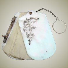 Antique French Napoleon III Mother of Pearl Carnet Bal, Chatelaine Style Ring